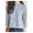 Womens Simple Leaf Embroidery Long Sleeve Button Down Striped Shirt