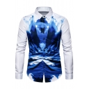 Mens Chinese Style Ink and Wash Painting Long Sleeve Button Up Slim Party Shirt