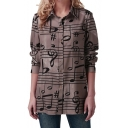 Fancy Khaki Musical Note Pattern Long Sleeve Button Down Casual Loose Shirt