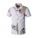 Mens Vintage Newspaper Floral Printed Short Sleeve White Button Shirt