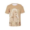 Funny Creative Poker Card 3D Print Short Sleeve Khaki T-Shirt