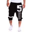 Men's Popular Fashion Letter 5 Stars Printed Drawstring Waist Casual Sports Sweat Shorts
