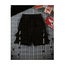 Street Style Trendy Letter Ribbon Embellished Drawstring Waist Black Cotton Hip Pop Sweat Shorts
