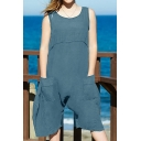Womens Summer Fashion Simple Plain Sleeveless Casual Linen Romper with Pocket