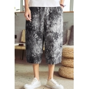 Chinese Stylish Unique Printed Loose Fit Casual Cropped Wide Leg Pants for Men