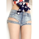 Girls Cool Light Blue Distressed Raw Hem Hollow Out Hot Pants Denim Shorts
