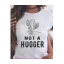 NOT A HUGGER Cactus Print Short Sleeve White Graphic Tee