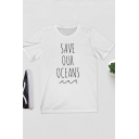 SAVE OUR OCEANS Letter Round Neck Short Sleeve White Basic Tee