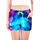 Summer Womens Trendy Blue and Purple Galaxy Printed Drawcord Waist Quick Dry Beach Shorts