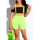 Womens Sexy Simple Plain High Waist Skinny Fit Suspender Shorts