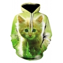 Green Cute Cat 3D Pattern Long Sleeve Unisex Pullover Drawstring Hoodie