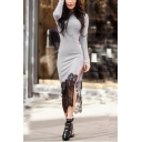 Womens Sexy Lace-Trim Split Side Long Sleeve Bodycon Maxi Dress