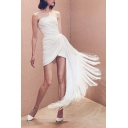 Womens Hot Trendy Unique Design Strapless Tassel Hem Mini White Dress