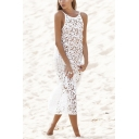 Hot Popular Sexy Hollow Out Crochet Sleeveless Maxi White Beach Bikini Cover Up Dress
