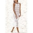 Hot Popular Sexy Hollow Out Crochet Sleeveless Maxi White Beach Bikini Cover Up Dress