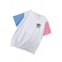 Stranger Simple Logo Print Colorblock Short Sleeve Casual Cotton Tee
