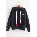 Girls Simple Flamingo Embroidery Letter Heart Drawstring Loose Fit Pullover Hoodie