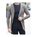 Mens Hot Popular Plain Long Sleeve Open Front Hooded Fitted Cardigan Coat