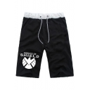 Men's Popular Fashion Letter SHIELD Printed Drawstring Waist Loose Fit Casual Cotton Sweat Shorts
