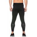 Men's Popular Letter Printed Quick-drying Black Skinny Training Pants with Side Pocket