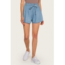Womens Trendy Blue Tied Elastic Waist Casual Loose Silk Denim Shorts