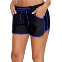 Womens New Trendy Contrast Trim Drawstring Waist Loose Sport Dolphin Shorts Swim Shorts