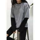 Popular Fashion Fake Two-Piece Patched Long Sleeve Casual Loose Pullover Sweatshirt