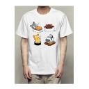 Funny Cartoon Sushi Printed Round Neck Short Sleeve White T-Shirt