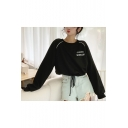Girls Simple Letter Printed Crewneck Long Sleeve Drawstring Hem Cropped Sweatshirt