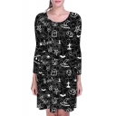 Hot Sale Fashion Halloween Pumpkin Letter Boo Print Round Neck Long Sleeve Mini Dress