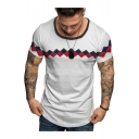 Mens Summer Simple Geometric Printed Round Neck Short Sleeve Fitted T-Shirt