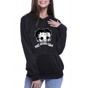 Fashion Halloween Cartoon Boop Doop Print Black Loose Fit Hoodie
