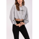 Womens Simple Letter FEAR NOT Print Long Sleeve Drawstring Hem Crop Hoodie