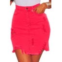 Hot Sexy Plain Ripped High Waist Bacon Stretch Denim Mini Skirt