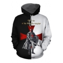 Knights Templar Fashion Cool Cross Figure Print Black and White Hoodie