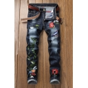 Men's Popular Fashion Leaves Floral Embroidery Pattern Black Retro Jeans