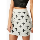 Sexy Womens Withe Cross Print High Waist Fitted Mini A-Line Skirt