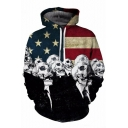 Funny Flag Skull Figure Printed Long Sleeve Sport Loose Drawstring Hoodie