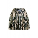 Cool Unique Stylish High Elastic Waist Camouflage Print Pleated Mini Skater Skirt