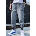 Men's Trendy Plain Multi-pocket Design Drawstring Cuffs Casual Loose Cargo Jeans