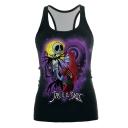 Halloween Jack and Sally Skull Figure Printed Sleeveless Black Racerback Tank