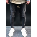 Men's Cool Fashion Solid Color Knee Pleated Zipped Cuffs Black Skinny Ripped Jeans