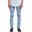 Guys Popular Fashion Simple Plain Knee Cut Zipped Cuffs Slim Distressed Ripped Jeans with Holes