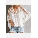 Hot Fashion Sexy Womens V Tie-Neck Elastic Cuff Long Sleeve Sheer Lace Blouse