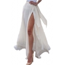 Womens Hot Fashion White Pleated Split Side High Waist Bow-Tie Maxi Summer Skirt