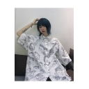 Summer Hot Fashion Cool Unique Cartoon Print Button Down Short Sleeve Oversize Casual Loose Shirts