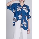 Summer Hot Fashion Fancy Blue Floral Print Button Down Short Sleeve Oversize Casual Loose Shirts