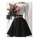 Cool Unique Hot Sale High Waist Eyelet-Embellished Mini Black Flared Skirt