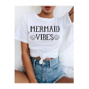 Hot Fashion White Short Sleeve Letter Mermaid Vibes Printed Knotted Front T-Shirts