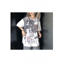 New Arrival Summer Graffiti Printed Round Neck 1/2 Sleeve Oversize T-Shirts